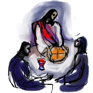 Jesus and bread and wine